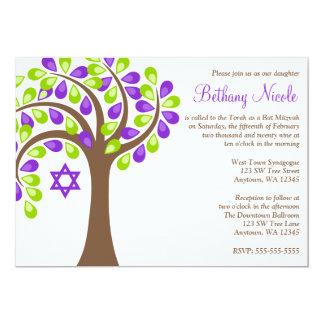 Árbol moderno del palo verde púrpura Mitzvah de la