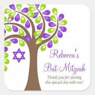 Árbol moderno del palo verde púrpura Mitzvah de la Pegatinas Cuadradases