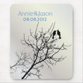 Árbol moderno WeddingFavor de los LoveBirds de la Alfombrilla De Ratón