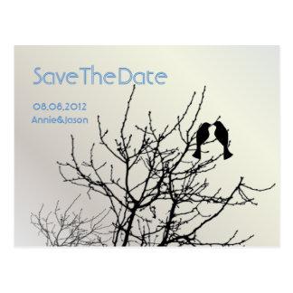 Árbol moderno WeddingFavor de los LoveBirds de la Tarjetas Postales