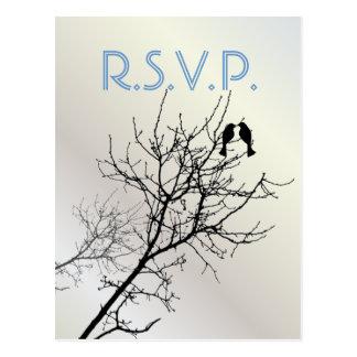 Árbol moderno WeddingFavor de los LoveBirds de la Postal