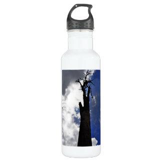 Árbol muerto viejo contra el cielo nublado oscuro botella de agua
