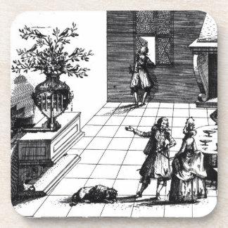 Árbol musical de la canción del pájaro, c.1670 pub posavasos de bebida