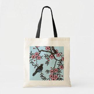 Árbol negro de la flor de cerezo del pájaro bolsa tela barata