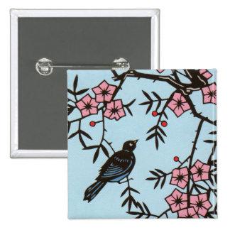 Árbol negro de la flor de cerezo del pájaro pin cuadrado