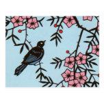 Árbol negro de la flor de cerezo del pájaro tarjetas postales