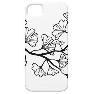 árbol negro del ginkgo con las hojas funda para iPhone SE/5/5s