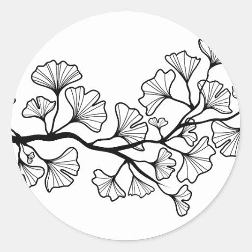 árbol negro del ginkgo con las hojas pegatinas redondas