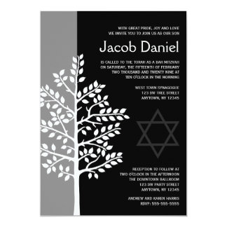 Árbol negro gris de las invitaciones de Mitzvah de Invitación 12,7 X 17,8 Cm