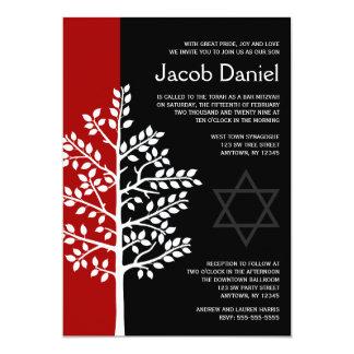 """Árbol negro rojo de las invitaciones de Mitzvah de Invitación 5"""" X 7"""""""