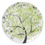 Árbol Negro-Verde Plato Para Fiesta