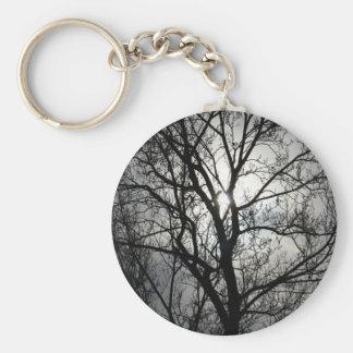 Árbol negro y gris llaveros personalizados