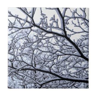 Árbol Nevado Azulejo Cuadrado Pequeño