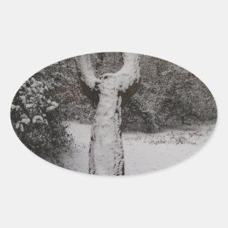 Árbol nevado en el bosque de Epping Pegatina Ovalada