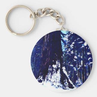 Árbol nevado llavero redondo tipo pin