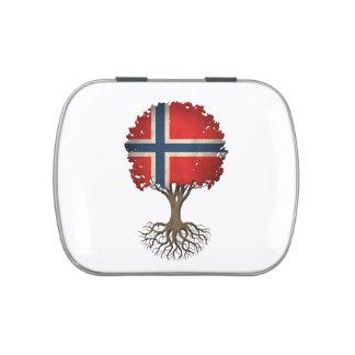 Árbol noruego de la bandera del personalizable de jarrones de dulces