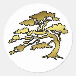 Árbol oriental pegatina redonda