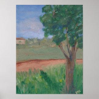 árbol original de la pintura al óleo del paisaje póster