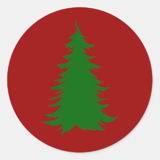 Árbol para el navidad pegatina redonda