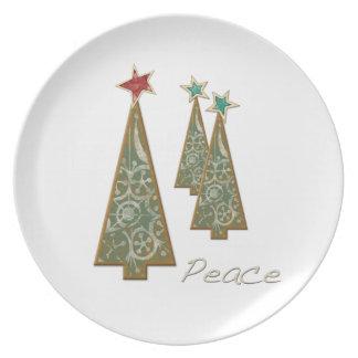 Árbol-Paz de tres navidad Plato De Comida