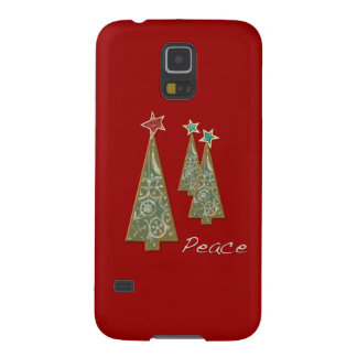 Árbol-Paz/rojo del navidad Funda De Galaxy S5