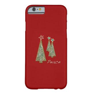 Árbol-Paz/rojo del navidad Funda De iPhone 6 Barely There