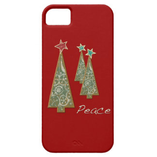 Árbol-Paz/rojo del navidad Funda Para iPhone 5 Barely There