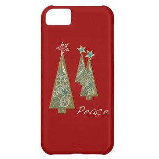 Árbol-Paz/rojo del navidad Funda Para iPhone 5C