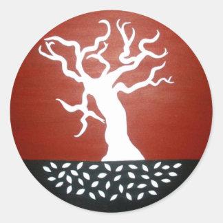 árbol pegatina redonda