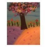árbol pintado feliz plantilla de membrete