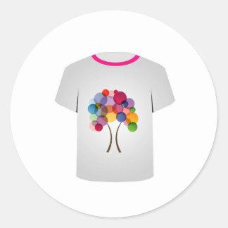 Árbol Plantilla-Abstracto de la camiseta Pegatinas Redondas