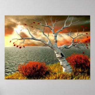 Árbol por el océano póster