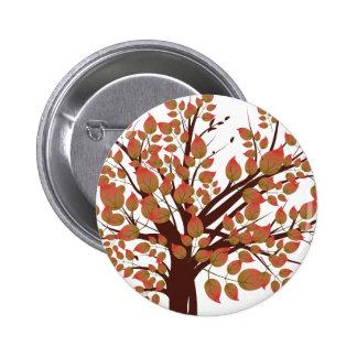 Árbol precioso del otoño pin redondo de 2 pulgadas