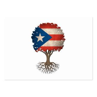 Árbol puertorriqueño de la bandera del tarjetas de visita grandes