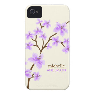 Árbol púrpura de las flores de cerezo iPhone 4 Case-Mate coberturas