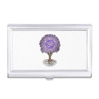Árbol púrpura de OM de la yoga de la vida Cajas De Tarjetas De Presentación