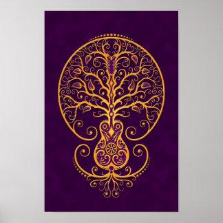Árbol púrpura de oro de la guitarra de la vida póster