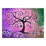 árbol púrpura del arte del icansketchu del lindsey tarjeta