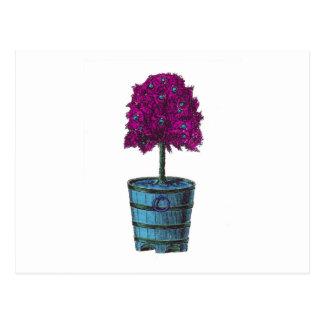 Árbol púrpura en imagen azul del cubo tarjeta postal