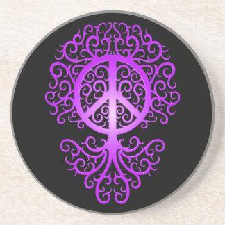 Árbol púrpura y negro de la paz posavasos personalizados