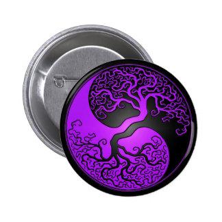Árbol púrpura y negro de Yin Yang Pin Redondo De 2 Pulgadas