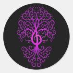 Árbol, púrpura y negro del Clef agudo Pegatina Redonda