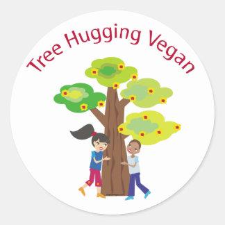 Árbol que abraza el swag del vegano etiquetas redondas