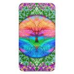 Árbol que calma de la vida en colores del arco iri funda acolchada para móvil