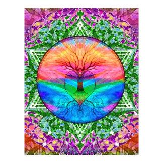 Árbol que calma de la vida en colores del arco iri flyer personalizado