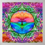 Árbol que calma de la vida en colores del arco póster