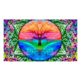 Árbol que calma de la vida en colores del arco tarjetas de visita