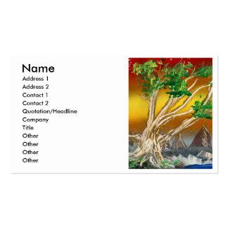 Árbol que pinta el naranja rojo con las montañas tarjetas de visita