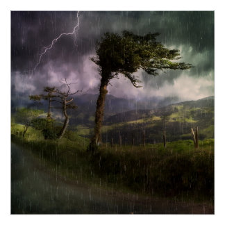 Árbol que sopla en el viento durante una tempestad póster