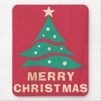 Árbol retro de las Felices Navidad Alfombrilla De Ratón